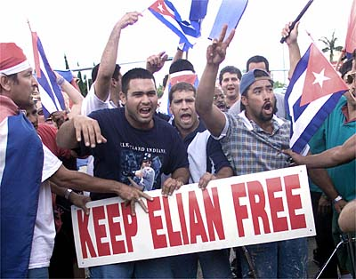 Cuban-American protesters demonstrate in the streets of Miami's Little Havana,
