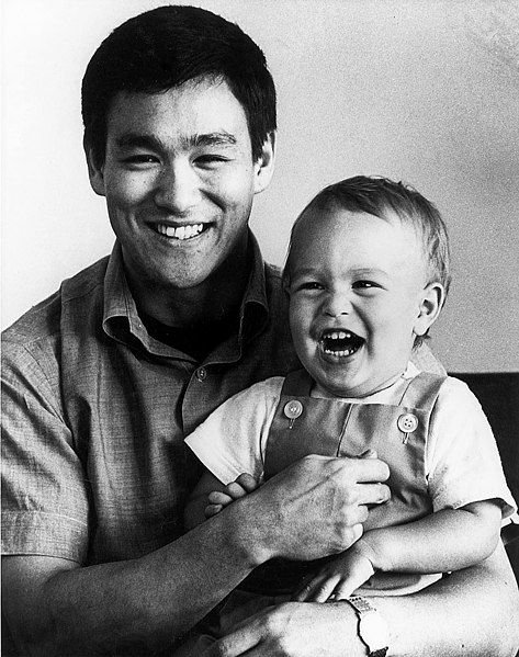 Bruce Lee with son Brandon 1966