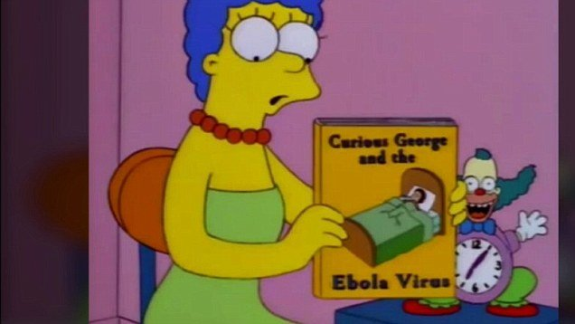 Marge with Curious George and the Ebola virus book